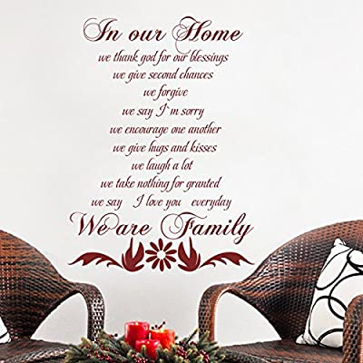 In Our Home Vinyl Home Wall Decal Family Saying Religious Letters Quotes Phrases Words Murals Wall Art Sticker