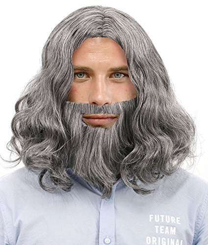 Mens Cosplay Costume Biblical Jesus Wigs and Beard Set, Grey