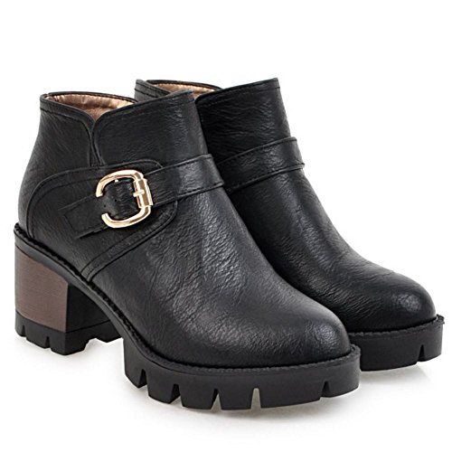 Heel Women Casual Zipper Warm Booties Ankle Chunky Black TAOFFEN ZRqzxIn66