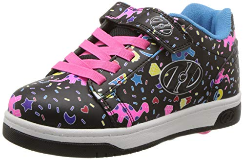 (Heelys Girls' Dual Up X2 Tennis Shoe, Black/Multi/Unicorn, 2 M US Little Kid)