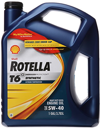 Shell Rotella T6 Full Synthetic Heavy Duty Engine Oil 5W-40, 1 Gallon (Shell Rotella T 15w40)