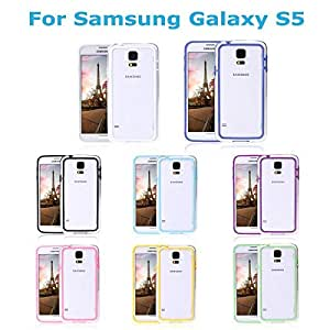 Hot Ultrathin Crystal Clear Colorful TPU+PC Hard Bumper Frame Protective Case Cover for Samsung Galaxy S5 i9600 --- Color:Blue