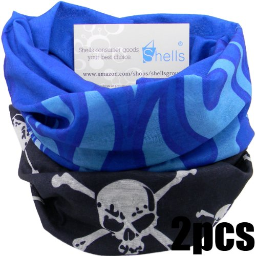 Shells® 2PCS Black Skull Pattern Blue Flame Pattern Polyester Microfiber Outdoor Sport Magic Multifunction No Seam Headscarf Headwear Face Mask Neck Warmer For Motorcycle Bike Ski Outdoor activities