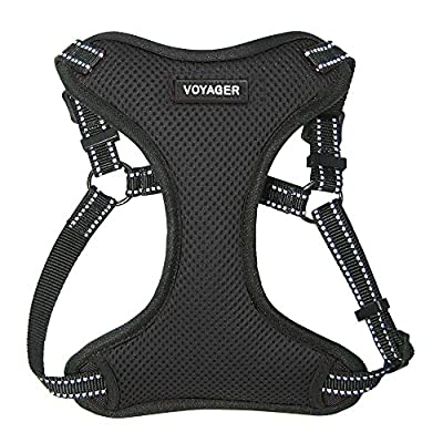 Voyager by Best Pet Supplies - Fully Adjustable Step-In Mesh Harness with Reflective 3M Piping