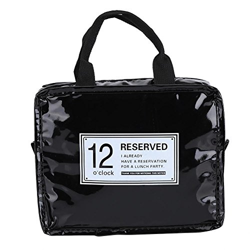 (Lunch Bag,Lunch Box Insulated Lunch Bag PVC Insulation Layer/Cooler Food Travel Tote Bag with Zip Closure(Black))