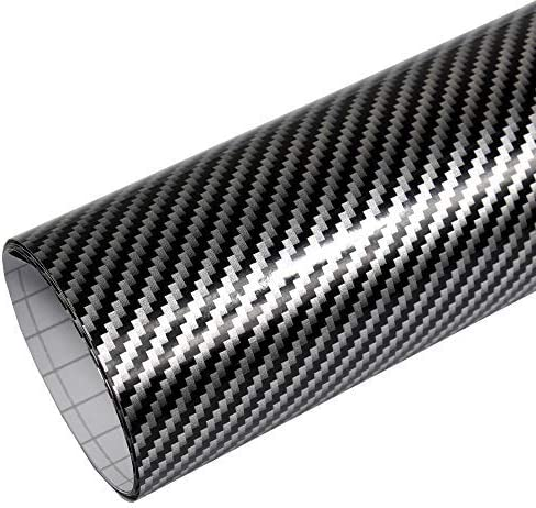 Rapid Teck Premium - Película Auto sin Burbuja con Conductos de Aire para Coche Laminado y 3D Pegar en Mate Brillo y Carbono - 2D Carbono Plata Negro, 3m x 1,52 m: