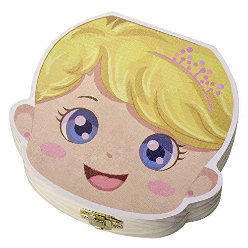 PUBAMALL Caja de dientes de bebé, caja de dientes de caja de madera de recuerdo de dientes de bebé (Princesa)