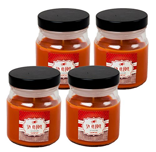 Set of 4 Starlyte Food & Aroma Scented 3 Oz Natural Soy Blend Candles In Apothecary Jar W/Lid (Spider Cider)