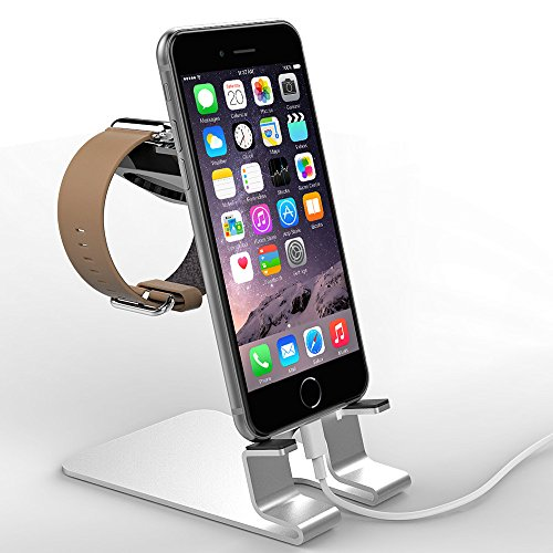 Apple Watch Stand, eLander™ [2 in 1] Apple Watch & iPhone Aluminum Charging Dock Cradle Bracket Station Holder, Charging Dock for both your Apple Watch & iPhone Simultaneously - Fits iPhone Models: 5 / 5S / 5C / 6 / 6+ And ALL Apple Watch Versions (Both