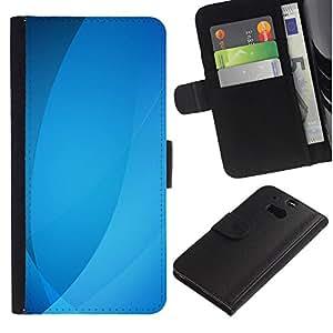 UberTech / HTC One M8 / Blue Ubuntu Waves Lines Pastel / Cuero PU Delgado caso Billetera cubierta Shell Armor Funda Case Cover Wallet Credit Card