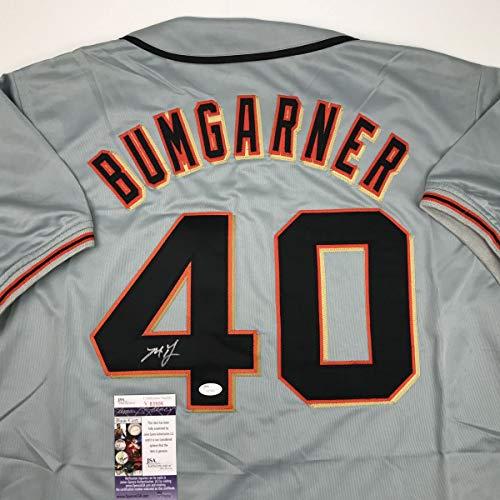 Autographed/Signed Madison Bumgarner San Francisco Grey Baseball Jersey JSA COA
