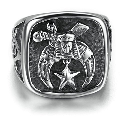 [Stainless Steel Ring for Men, Star Freemason Ring Gothic Silver Band 2020MM Size 10 Epinki] (Green Arrow Wwe Costume)