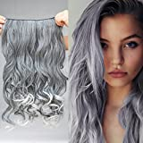"REECHO 20"" 1-Pack 3/4 Full Head Curly Wave Grandma Hair Color Clips in on Synthetic Hair Extensions Hairpieces for Women 5 Clips 4.6 Oz per Piece - Silver Grey mixed Black"