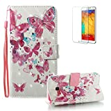 For Samsung Galaxy A3 2017 Case [with Free Screen Protector], Funyye Premium New 3D Folio PU Leather Wallet Magnetic Flip Cover with [Wrist Strap] and [Colorful Printing Painting] Stylish Book Style Full Body Protection Holster Case for Samsung Galaxy A3 2017-Little Butterfly