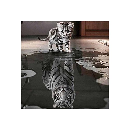 Full Diamond Rhinestone Tiger (DIY 5D Diamond Sticker, Cat Tiger Painting by Number Kits Crystal Rhinestone Full Diamond Embroidery Cross Stitch Paintings Pictures Arts Craft for Home Wall Decor)