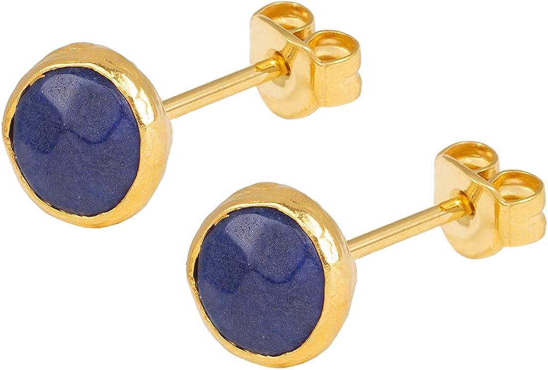 Pendientes de mujer de la marca SARAH BOSMAN de plata chapada en oro con piedras preciosas azules engastadas - SAB-E26BLULAPg