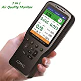 Air Quality Monitor IGERESS Multifunctional Indoor Pollution Detector Meter for Formaldehyde, PM2.5, VOC, PM1.0, PM10, Temperature and Humidity Test, Real Time Air Tester Kit with Colorful LCD Screen