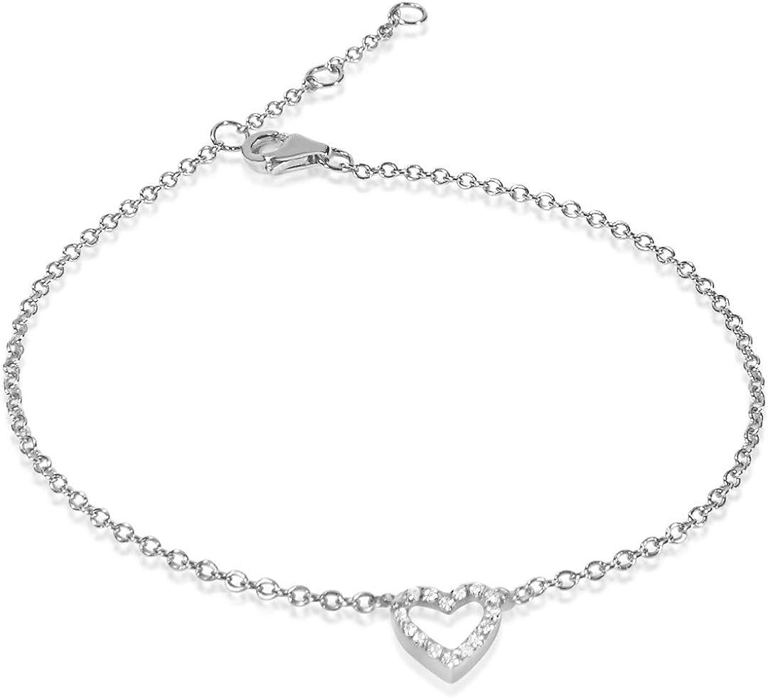 MILLE AMORI ∞ Pulsera Mujer Oro y Diamantes, longitud ajustable 18/17/16 cm - Oro Blanco 9 Kt 375 ∞ Diamantes 0.06 Kt