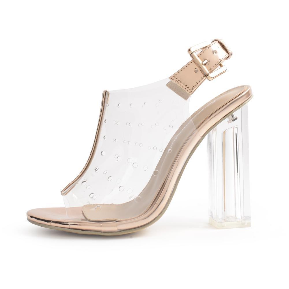 Damen Sexy Kristall Transparent Schuhe Dick Hoch Hacke Sandalen Transparent Kristall Knöchel Gurt Schnalle Gold Arbeit Party Kleid Nachtclub Gold d54b57