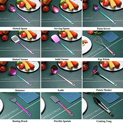 Rainbow Kitchen Utensils Set,13 Pieces Stainless Steel Cooking Utensils Set With Titanium Rainbow Plating,Kitchen Tools Set With Utensil Holder For Non-Stick Cookware Dishwasher Safe (13 Packs)