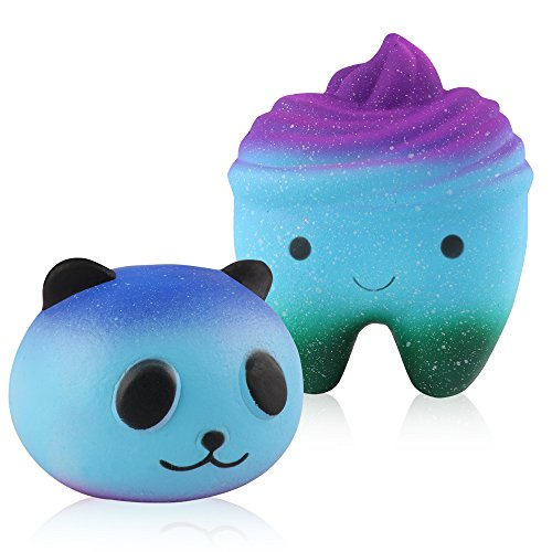 Mocoosy Squishies Slow Rising Kawaii Blue Panda and Tooth Squishy Pack of 2 Charms Kawaii Squishy Toys (Blue panda + tooth)