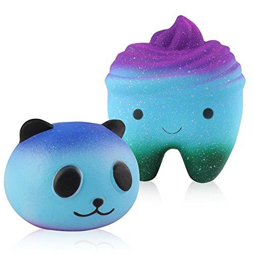 Mocoosy Squishies Slow Rising Kawaii Blue Panda and Tooth Squishy Pack of 2 Charms Kawaii Squishy Toys (Blue panda + tooth)