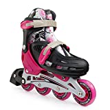 New Bounce Premium Roller Skate by, 4 Wheel Inline Speed Skate for Kids  Outdoor Skating for Beginners & Advanced   4 Sizes  Pink Or Blue (Pink, Large)