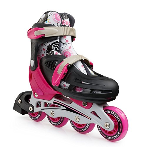 New Bounce Adjustable Inline Skates for Kids – 4 Wheel Blades Roller Skates for Girls, Teens, and Young Adults, Outdoor Rollerskates for Beginners Advanced Pink