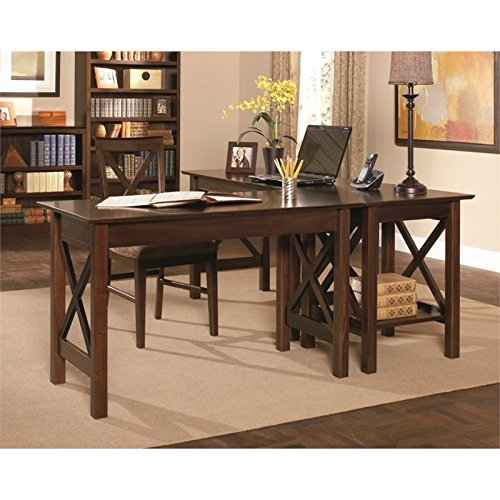 (Atlantic Furniture Lexington 3 Piece Office Set in Antique)