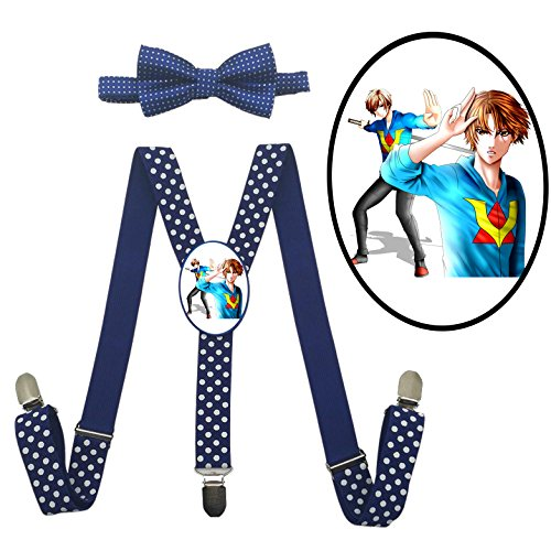 App Costume Ideas (LSL VenturianTale Suspender+Bow Tie/Unisex Suspender/Adjustable Suspender/Y-Back Suspender(Blue))