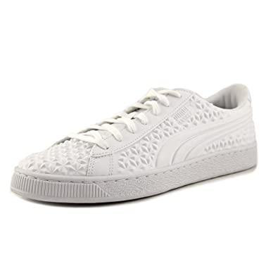 e3beaefd67e PUMA Basket Classic Dia Emboss Mens White Leather Lace Up Sneakers Shoes  10.5