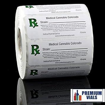 Premium Vials, 1000 pcs, Colorado Medical Cannabis Strain Labels ROLL State  Compliant Sticker Decal Marijuana, Pot, Ganja, 420, Sticky Icky Identifier