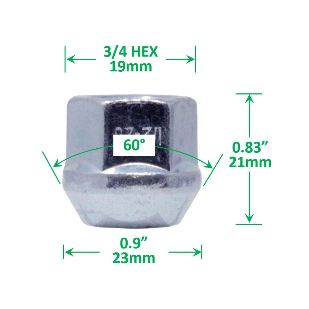 Open-end Acorn Bulge Lug Nuts Zinc Finish M14x1.5 Thread WheelGuard 1109 3//4 Hex Pack of 24