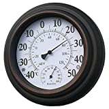 Indoor Outdoor Thermometer Hygrometer, Thermometer Hygrometer for Patio Iron Shell Large Font No Battery is Required Home Celsius Temperature Hygrometer Monitor(Bronze)