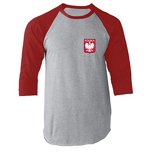 Poland Soccer Retro National Team Red M Raglan Jersey (Poland Soccer T-shirt)