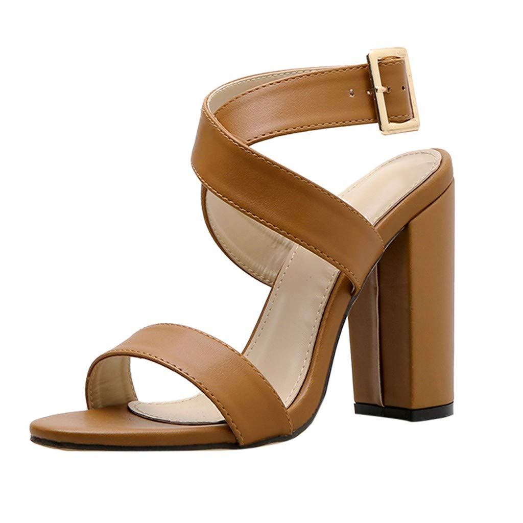 OutTop(TM) Women's Super High Heel Sandals Ladies Summer Open Toe Buckle Shallow Thick Heel Shoes Wedding Footwear (US:5.5, Brown)