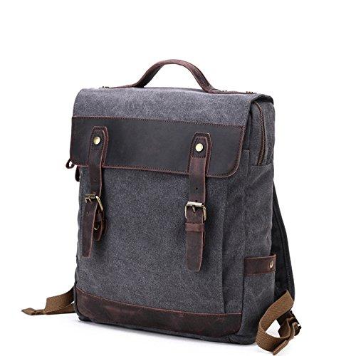 mefly de estilo retro mochila bolsa hombres mochila bolsa de lienzo, verde caqui Dark grey