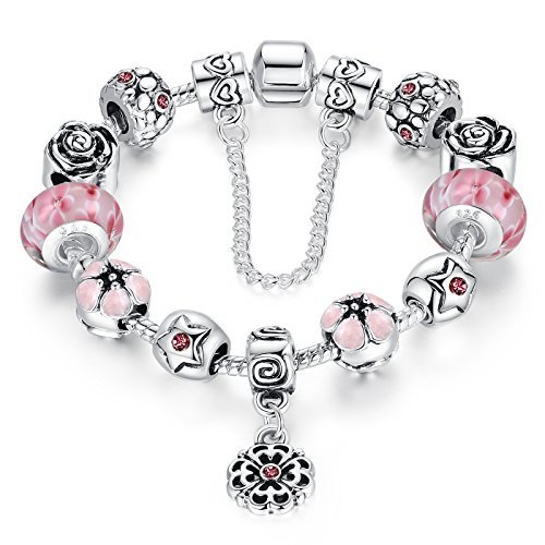 Presentski Fashion Charm Bracelet for Teen Girls and Women with Safe Chain Flower Themed Pink Charms 7.1 Inches]()