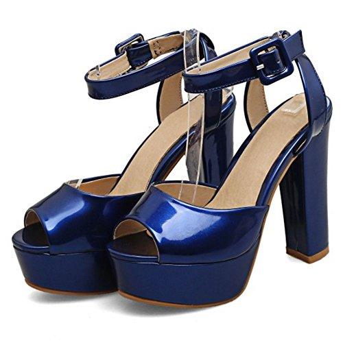 RAZAMAZA Mjuer Peep Toe Tac¨®n Ancho Sandalias Plataforma Slingback Zapatos Azul