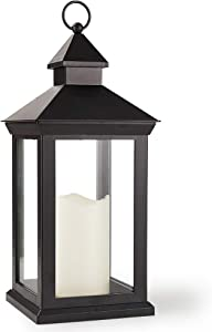 Bright Zeal 14 Inch Decorative Candle Lantern Black Outdoor Lanterns With Timer Candles - IP44 Waterproof Vintage Lanterns Battery Powered LED Hanging Decorative Lanterns For Wedding Indoors Tabletop