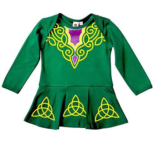 Carrolls Irish Gifts Green Babies Vest Designed As Irish Dancing Dress With Celtic Design