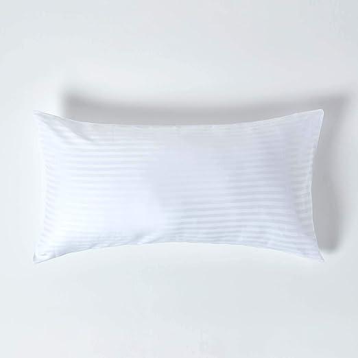 Homescapes Funda de almohada Confort con rayas de satén estilo-Housewife-50 x 90 cm de color Blanco en 100% algodon egipcio densidad de 130 hilos/cm²: Amazon.es: Hogar
