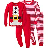 Gerber Boys' ' 4 Piece Holiday Cotton Pajama Set, Santa, 12 Months