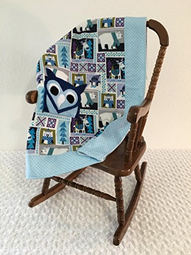 Small Blue and Purple Owl Applique Blanket