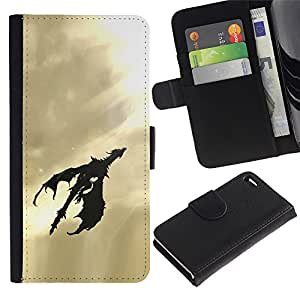 KingStore / Leather Etui en cuir / Apple Iphone 4 / 4S / Flying Dragon Arte Cielo Sol Luz Negro