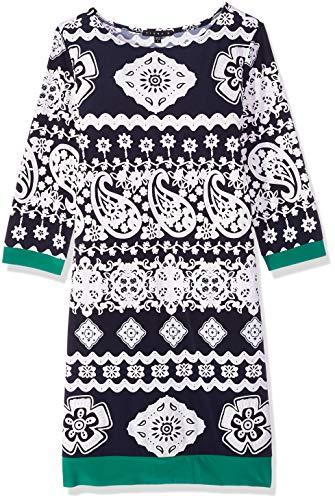 Tiana B Women's 3/4 Sleeve Puff Print Shift Dress, Navy/White 10
