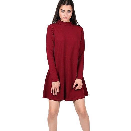 ... 17061 c30e8 Rucan Womens Ladies Turtleneck Long Sleeve Swing Skater  Dress (C 6842bef3c