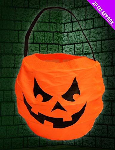 Scream Machine 2 X Halloween Pumpkin Fabric Trick Or Treat Tote Bags - Cauldron Style ()