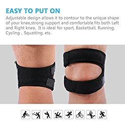 Yosoo Patella Knee Strap Adjustable Neoprene Infrapatellar Strap Band Brace for Knee Support Fits Running, Basketball, Outdoor Sports Help with Jumpers and Runners Knee, 11\'\' - 16\'\', Black