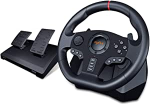 PXN V900 PC Gaming Racing Steering Wheel, Universal Usb Car Sim 270/900 degree Race Steering Wheel with Pedals for PS3, PS4, Xbox One, Nintendo Switch